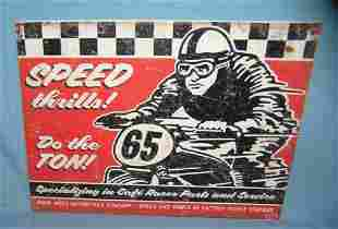 Speed thrills motorcycle racing retro style advertising