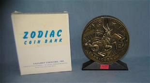 Capricorn all cast metal Zodiac bank with original box
