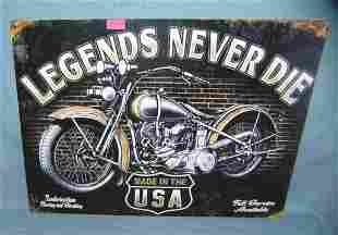 Legends never die retro style motorcycle sign