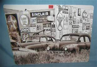 Automotive related retro style advertising sign printed