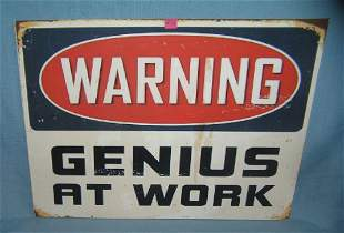 Warning Genius at work retro style advertising sign