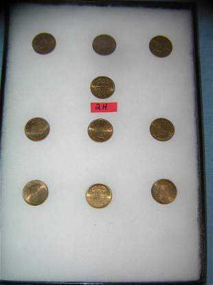 Collection of solid brass US state commemoratives