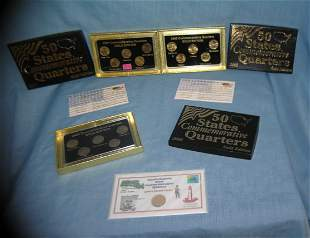 Brilliant uncirculated gold edition US state quarters