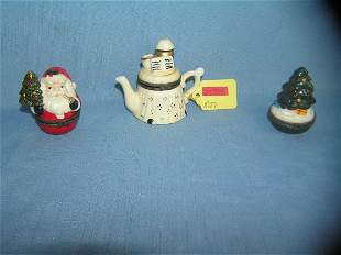 Group of 3 figural porcelain hinged pill boxes