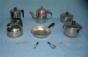 Stainless steel/copper tea, coffee & cookware set