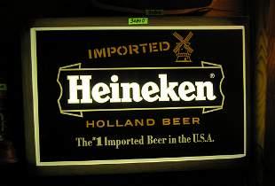Early Heineken illuminated wall display piece