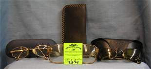 Group of vintage eye ware and cases