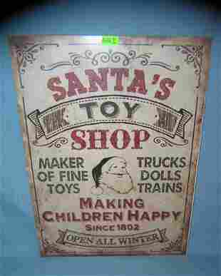 Santa's Toy Shop retro style advertising sign