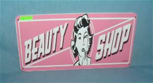 beauty shop License plate size retro style sign