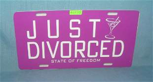 Just divorced License plate size retro style sign