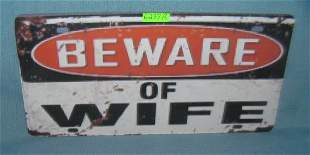Beware of wife License plate size retro style sign