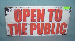 Open to the Public License plate size retro style sign