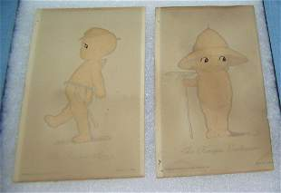 Pair of 1930's Rose O'Neill Kewpie doll post cards