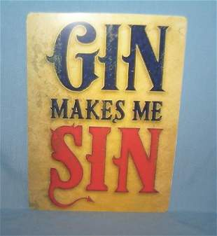 Gin makes me sin retro style advertising sign printed