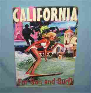 California for sun and surf retro style advertising