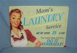Mom's laundry service 12 by 16 inches retro style sign