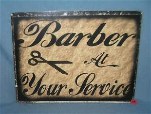 Barber at your service 12 by 16 inches retro style sign