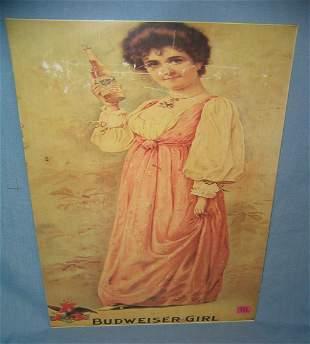 Budweiser girl retro style advertising sign