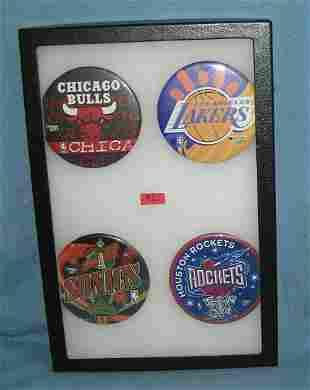 Group of vintage NBA basketball pin back buttons