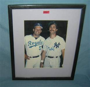 Don Mattingly autographed photo with George Brett
