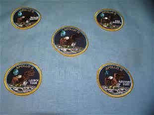 Complete set of five rare hand embroidered Apollo 11