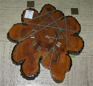 Vintage log cut wall clock