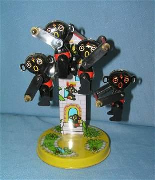 Tin wind up mechanical Golliwog Ferris Wheel