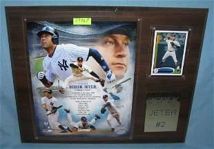 Derek Jeter photo and baseball card wall plaque