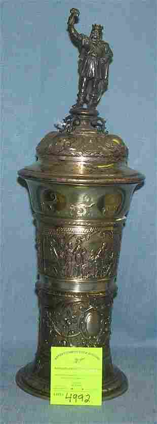Large high quality silver plated beer chalice