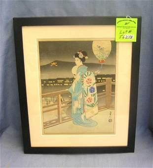 Antique signed Japanese wood block print
