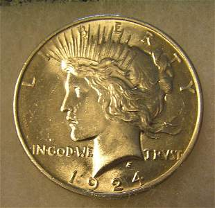 1924 Peace silver dollar in AU condition