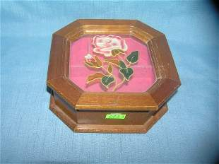 wood and glass rose decorated jewelry box