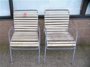 Pair of 1950's lawn chairs all cast aluminum