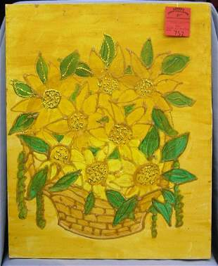 Oil on canvas flower basket themed painting