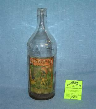 Antique Herb-o beverage bottle with Indian chief label