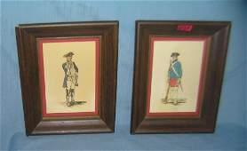Pair of Revolutionary War framed prints