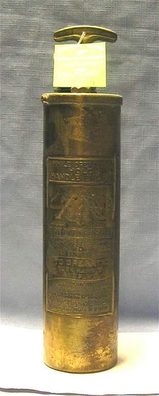 Antique solid brass fire extinguisher