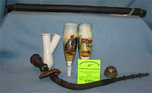 Large antique German porcelain and wood pipe
