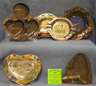 Collection of vintage cast metal souvenir dishes