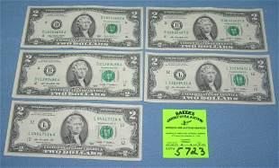 Group of US $2.00 bills