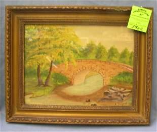 Vintage landscape painting signed A. Dujour