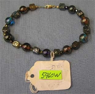 Vintage gold filled and multi colored stone bracelet