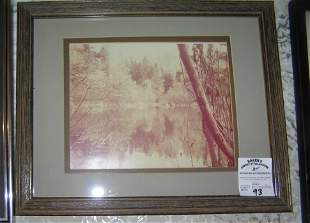 Matted and framed photo of a stream and wood scene