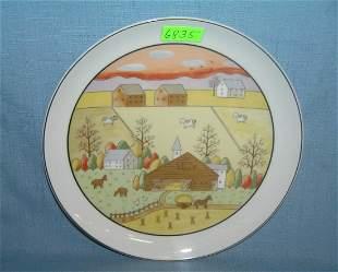 Farm town scene collector plate 1960's