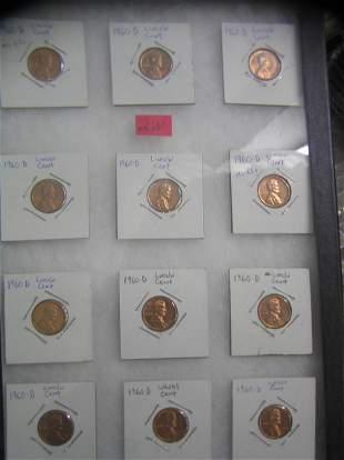 1960D high grade Lincoln memorial copper pennies