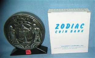 Libra all cast metal Zodiac bank with original box