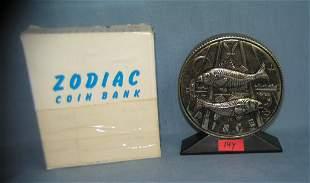 Pisces all cast metal Zodiac bank with original box
