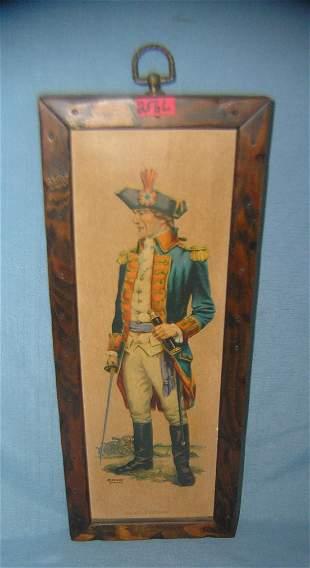 Revolutionary War framed print on board