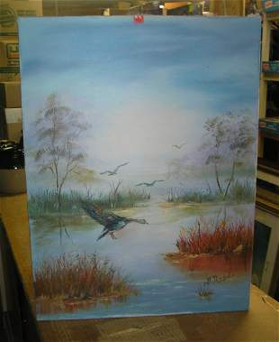 Duck and wildlife themed oil on canvas painting
