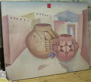 Southwestern themed painting signed Joseph